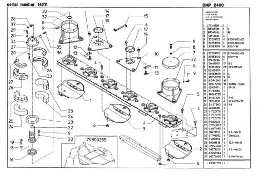 vicon dmp2400 disc mower spare parts list